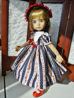 """Navy and Roses Outfit for Effner 13"""" Little Darling Doll by Apple"""