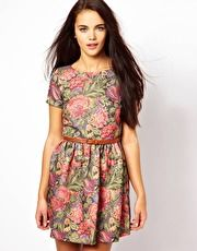 River Island Rose Print Belted Dress
