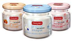 Yogurts Danubio iogurte sem lactose à base de leite intolerância à lactose em pote de vidro