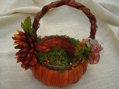 Flower a Girl Basket - Fall, Harvest Autum Wedding Theme Burlap Pumpkin Flower Girl Basket