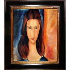 Amedeo Modigliani 'Portrait of Jeanne Hebuterne' Hand Painted Framed Art