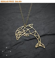 Cyber Monday SALE! Dolphin necklace, animal necklace, origami necklace, fish necklace, geometric dolphin, sea necklace, gift under 50.
