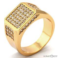 plain gold rings for men Mens Gold Plated CZ Square Face Rapper Ring