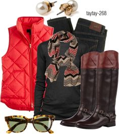 """""""Black, Red, & Brown"""" never out grow your need for boots,vest & jeans Puffy Vest Outfit, Red Vest, Vest Outfits, Autumn Fashion Casual, Casual Fall, Autumn Winter Fashion, Cute Fall Outfits, Fall Winter Outfits, Style Me"""