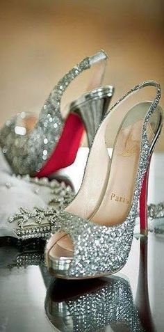 Christian Louboutin ~ Silver Sequinned Peep Toe Slingback Pumps