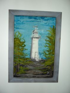 Needle felted picture of King's Cove Lighthouse, Newfoundland.