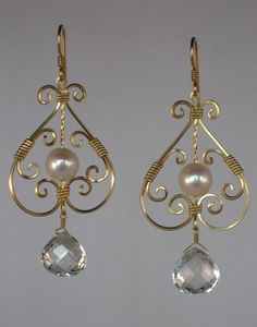 Gold Pearl and White Topaz Earrings