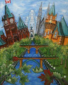 """Pride of Ottawa with Maple Leaves"" Artist Jill Alexander www.jillalexander.ca  Like on FB ~ Jill Alexander Studio Vibrant Colors, Colours, Framed Prints, Canvas Prints, Maple Leaves, Ottawa, Her Style, Fine Art America, Pride"