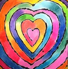 "Rainbow Spiral Heart - The link offers no instructions but it looks easy enough to duplicate. Perhaps try bright watered down paints and then outline with markers. (From exhibit ""4th Grade Spiraled Heart COLOR WHEELS"" by Corah3)"