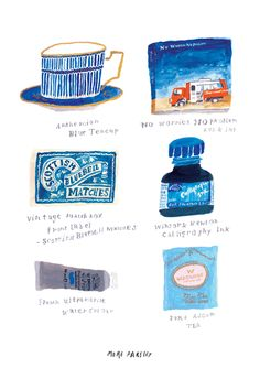 objects in BLUE,  illustration by moreparsley MOREPARSLEY.COM