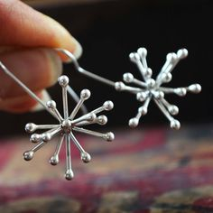Starburst earring, argentium silver sculptures by TCM Jewelry Designs Metal Jewelry, Silver Jewelry, Silver Rings, Starburst Earrings, Wire Earrings, Handmade Silver, Jewelry Crafts, Jewelry Design, Gold