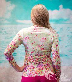 Coola Cozzies women's UPF50+ long sleeve rashie/swim shirt in sizes 10 to 24. Mermaid.  #womensswimwear #swimwear #coveredswimwear