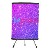 Christian SHE PRAYS Faux Glitter Purple and Pink Tripod Lamp