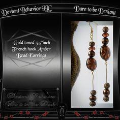 Gold tone amber beaded french hook earrings