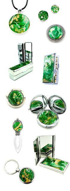 Green handmade gift guide for her, bookmark, brooch, business card case, compact mirror, keychain, lipstick case, pendant, purse hook, stud earrings, pill case.