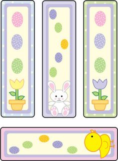 Bunny and Chicks, Easter, Bookmarks - Free Printable Ideas from Family Shoppingbag.com