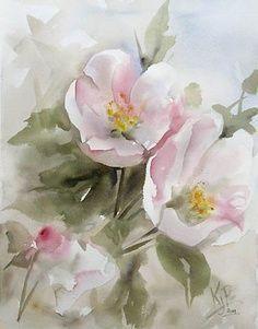 Peinture Aquarelle, Aquarelle Fleurs, Peinture Fleurs, Fleurs De Pommier,  Fleurs À L