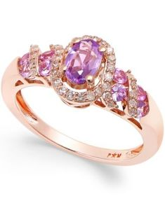 Purple Sapphire (3/4 ct. t.w.) and Diamond (1/5 ct. t.w.) Ring in 14k Rose Gold | macys.com