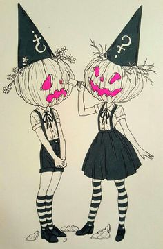 Love this punk pumpkin sisters cartoon art illustration, perfect for Halloween I from the imaginative works inspired by Inktober desposablePhoto Halloween Illustration, Art And Illustration, Halloween Drawings, Halloween Art, Halloween Witches, Happy Halloween, Halloween Decorations, Halloween 2019, Halloween Costumes