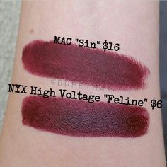 MAC Sin and Gerard Cosmetics Cherry Cordial Dupes | Dupethat Gorgeous color, great price. The NYX looks even a little more pigmented than the mac.