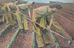 'British women in WWII: Land Girls' (1941) by English artist Evelyn Dunbar (1906-1960). She was partly notable for having been one of the few female artists to have been employed by the War Artists' Advisory Committee to record women's contributions to World War II on the United Kingdom home front. She was also a forerunner of the Green movement.