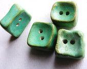 4 Artisan chunky Square Buttons Shabby Aqua Patina cube  turquoise blue shabby chic