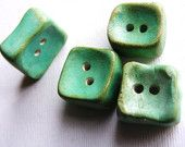 4 Artisan chunky Square Buttons Shabby Aqua Patina cube  turquoise blue shabby chic