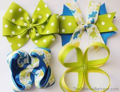 How to Make Bows: Twisted Boutique, Pinwheel, Spikes, Surround Loops - and how to layer Making Hair Bows, Diy Hair Bows, Diy Bow, Bow Making, Hair Ribbons, Ribbon Bows, Ribbon Hair, Ribbon Flower, Ribbon Retreat