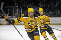 Ryan Spooner & Matt Fraser // © All rights reserved to the Providence Bruins. Photo credit: © Elise Luskin Photography. Permission for use of photo will solely be granted by the Providence Bruins organization.