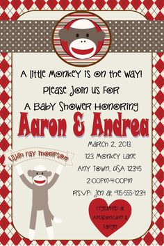Sock Monkey Baby Shower Invitation. $10.00. Visit www.facebook.com/simplybydrea