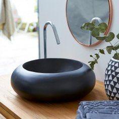 Acqua Black Bathroom Washbasin in Terrazzo Tikamoon Terrazzo, Wood Framed Mirror, Metal Mirror, Countertop Basin, Countertops, Small Toilet, D 40, Bathroom Curtains, Black Marble