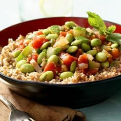 Egyptian Edamame Stew Edamame is a great source of protein! Look for frozen & shelled edamame in the freezer section. Pair with quinoa, brown rice, or whole wheat couscous for a quick, simple meal. Quick Vegetarian Meals, Dinner Recipes Easy Quick, Going Vegetarian, Vegetarian Food, Vegetarian Sandwiches, Vegetarian Breakfast, Veggie Recipes, Cooking Recipes, Healthy Recipes