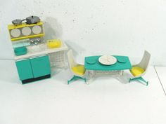 Vintage Topper Doll House Furniture Dawn Doll Apartment Kitchen Table Chairs | eBay