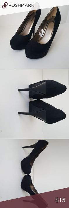 Black Suede High Heels These heels are suede material and have no stains or materials. They are very clean and are in great conditions. Room for Bargain on these shoes too. Shoes Heels