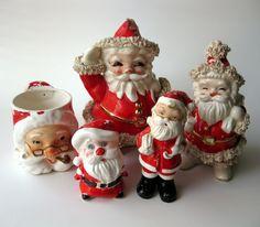 XMAS SALE - Lot of 5 Vintage Shabby Santa Claus Ceramic  Planters Salt and Pepper Shakers Mug. $10.00, via Etsy.