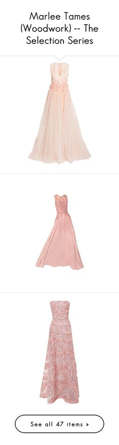 """""""Marlee Tames (Woodwork) -- The Selection Series"""" by lonely-wallflower ❤ liked on Polyvore featuring selection, theelite, theselectionseries, marleetames, dresses, gowns, long dresses, orange, evening gowns and long sequin dress"""