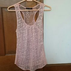 Flowy racerback tank top with lace back Sheer tank with gorgeous lace back. Light/pale pink. Tops Tank Tops