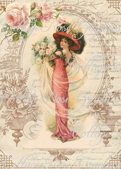 Victorian Romance Lady Large digital by CottageRoseGraphics, $3.75