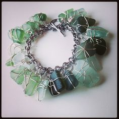 Hues of Green Sea Glass Charm Bracelet  by theatticshop on Etsy, $80.00