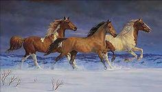 """FREEDOM by Chris Cummings. """"Just ahead of the dark storm clouds, a band of three horses is caught in the late afternoon sun as they race along a snowy ridge, free to run."""""""