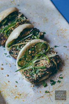 Vegan Salt + Pepper Tofu Gua Bao with Pickled Cucumber Salad, Ground Sweet Roasted Peanuts & Green Scallions (Steamed Buns)