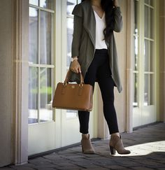The Only Pair of Ankle Booties You Need This Fall, casual fall outfit, olive green drapey jacket, ankle booties black ponte pants, casual business outfit, fall outfit idea, petite fashion blog, stylish petite, cognac handbag - click the photo for outfit details!