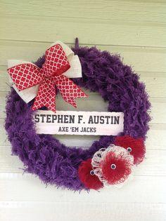 SFA Burlap Wreath Stephen F. Austin Wreath SFA by BusyWithBurlap