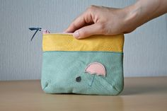 Leather pouch, Upcycled, Zipper pouch, Rain, Umbrella, Pastel, Mint liner, Bag organizer