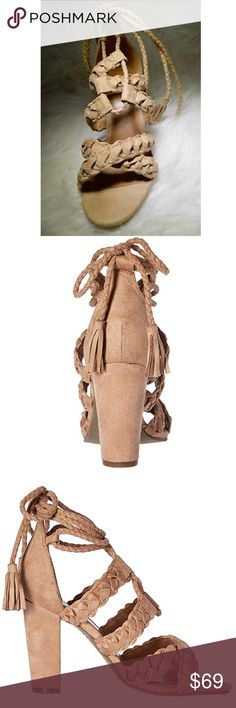 """Braided Lace Up Tassel Chunky Heel Boho Sandal Braid detail lace up chunky heel sandal.  Taupe Textile Upper. Imported Heel measures approximately 3.5"""" Lightly padded insole Flexible sole Urban Outfitters Shoes Sandals"""