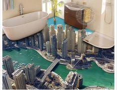 LHDLily Wallpaper Mural Wall Stricker City Landscape High-Rise Building PVC Waterproof Non-Slip Matte Self-Adhesive Floor Bathroom Living Room