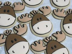 Moose Sugar Cookies Woodland Animals Favors, Birthday Party for Child, Forest…
