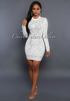 Chic Couture Online - Antigona Off-White Silver Studded Dress, (http://www.chiccoutureonline.com/antigona-off-white-silver-studded-dress/)