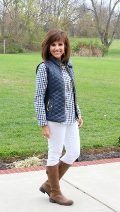I'm mixing the gingham and leather trend. I'm styling a blue gingham top with a faux leather quilted vest.