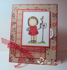 "Valentine card ... sweet image ""at the mailbox"" ... like the printed kraft papers and design of this card ..."
